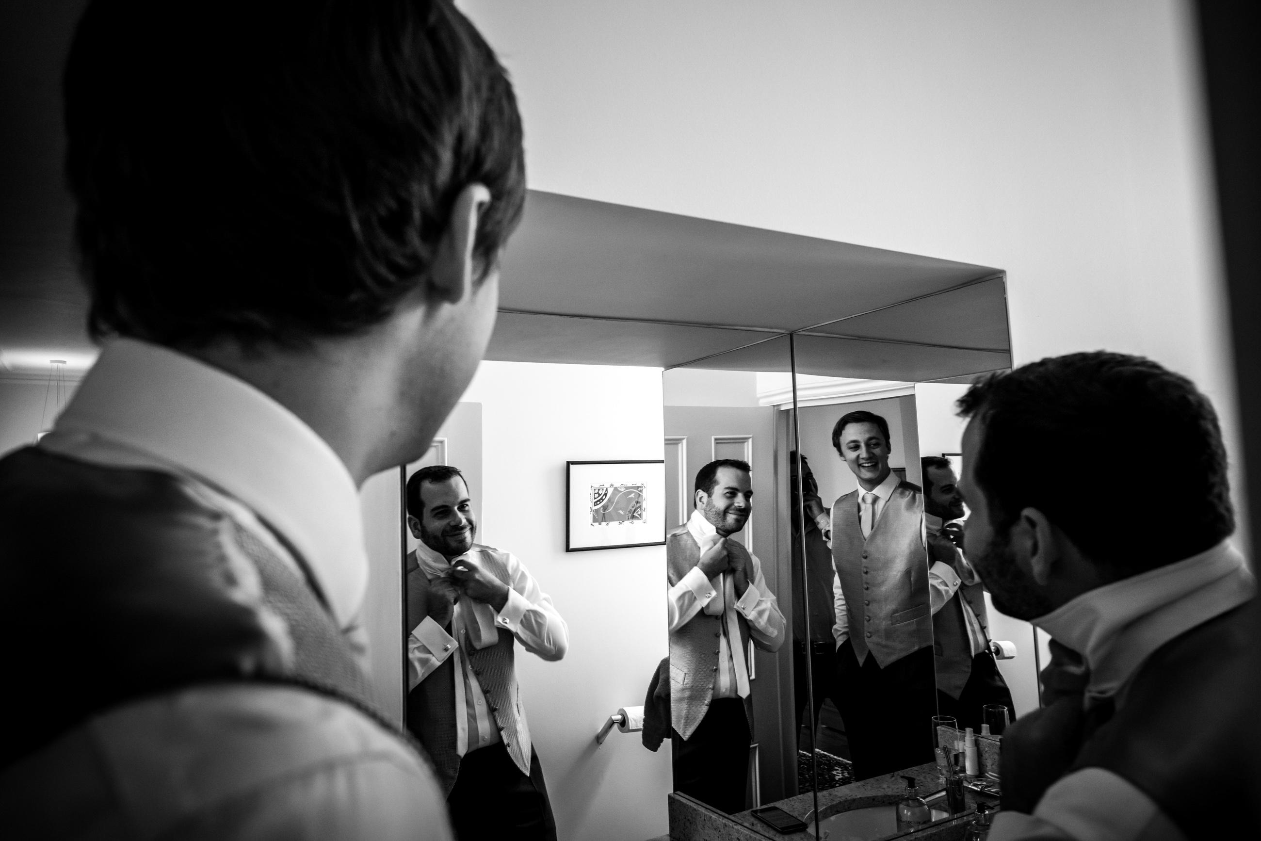 groom getting prepared for his london wedding
