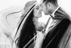 Bride and groom's faces intimately close