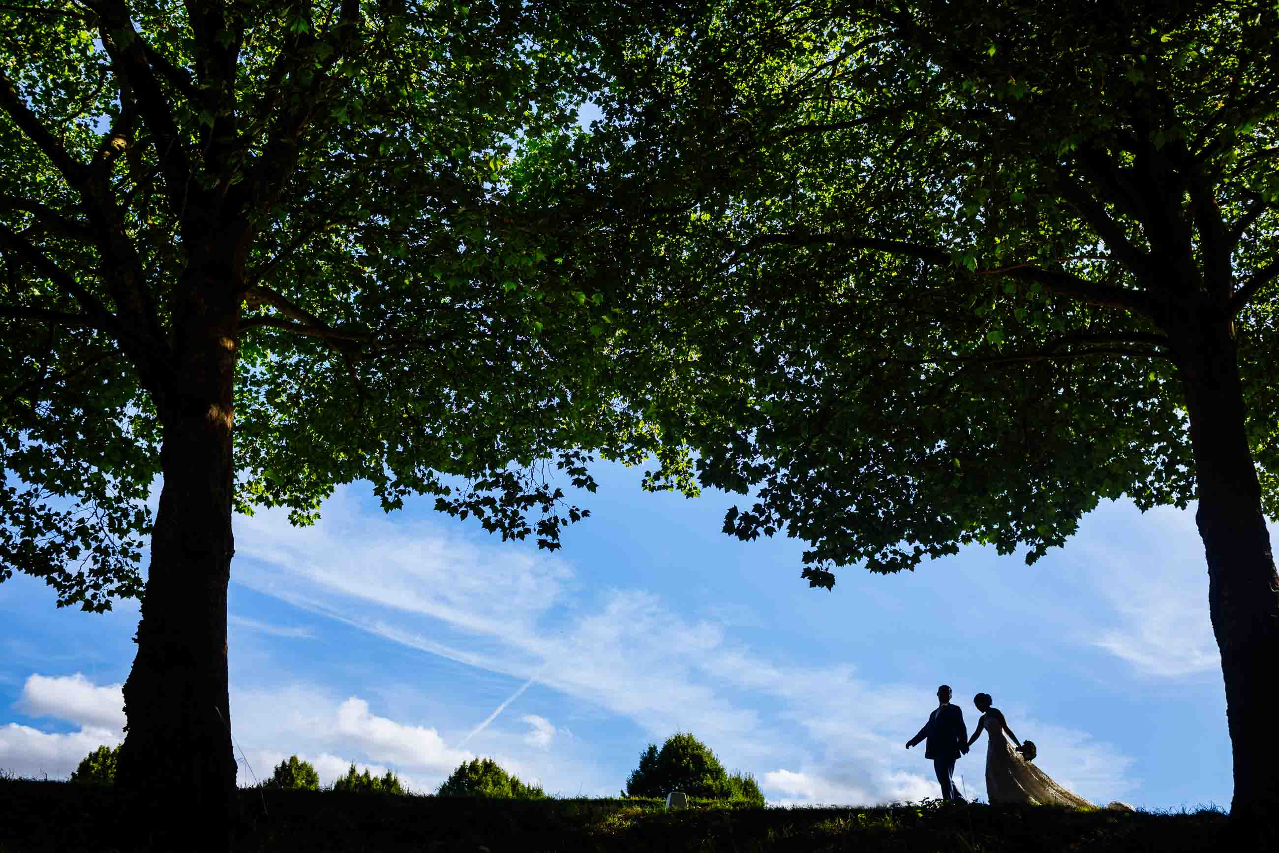 silhouettes of bridal couple in London