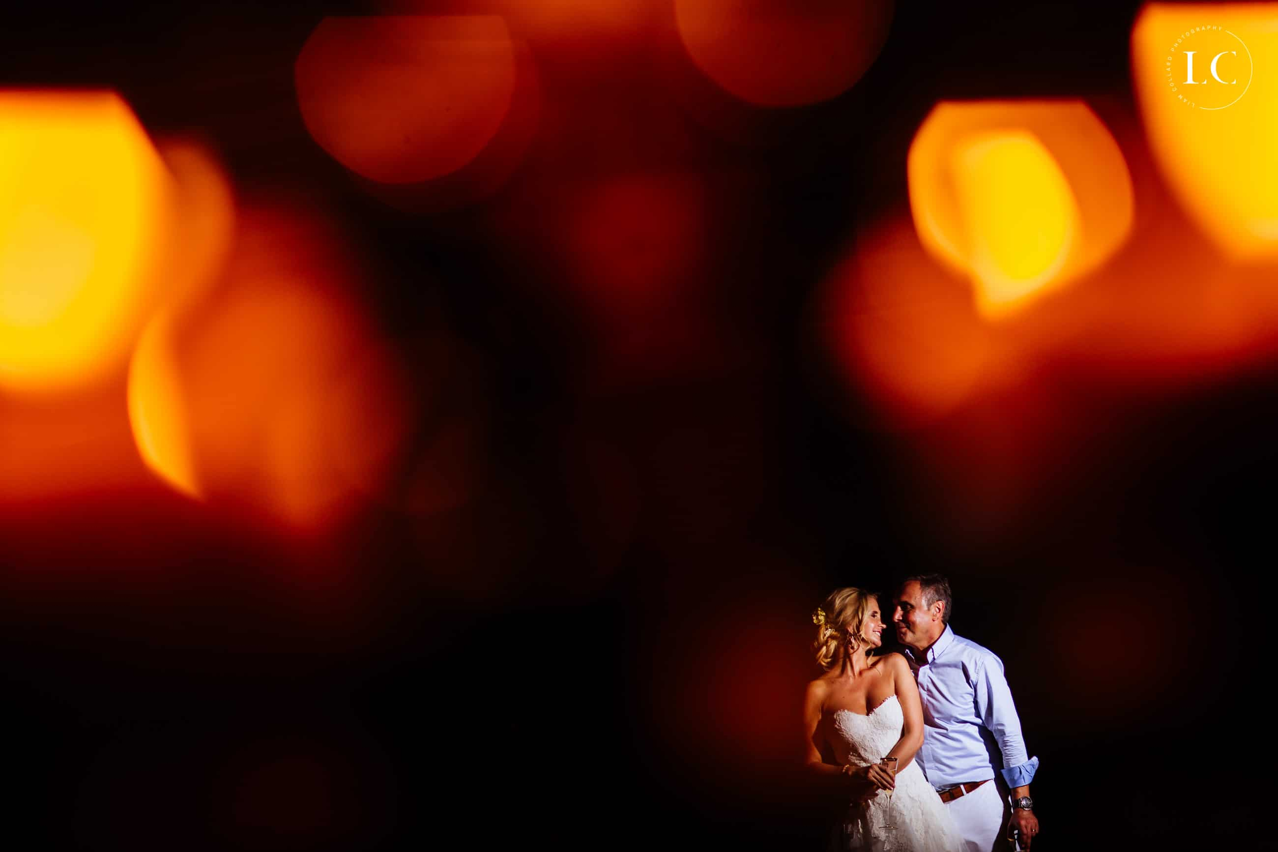 Bride and Groom with colourful background