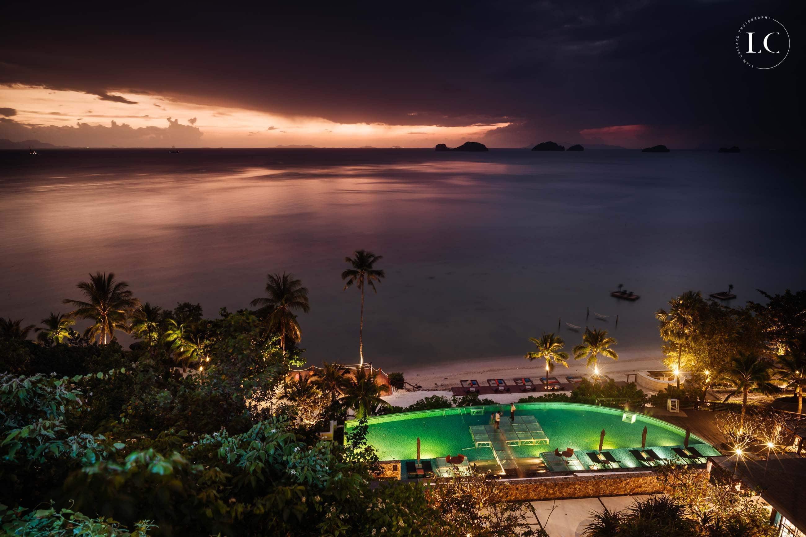 Night time view of luxury resort