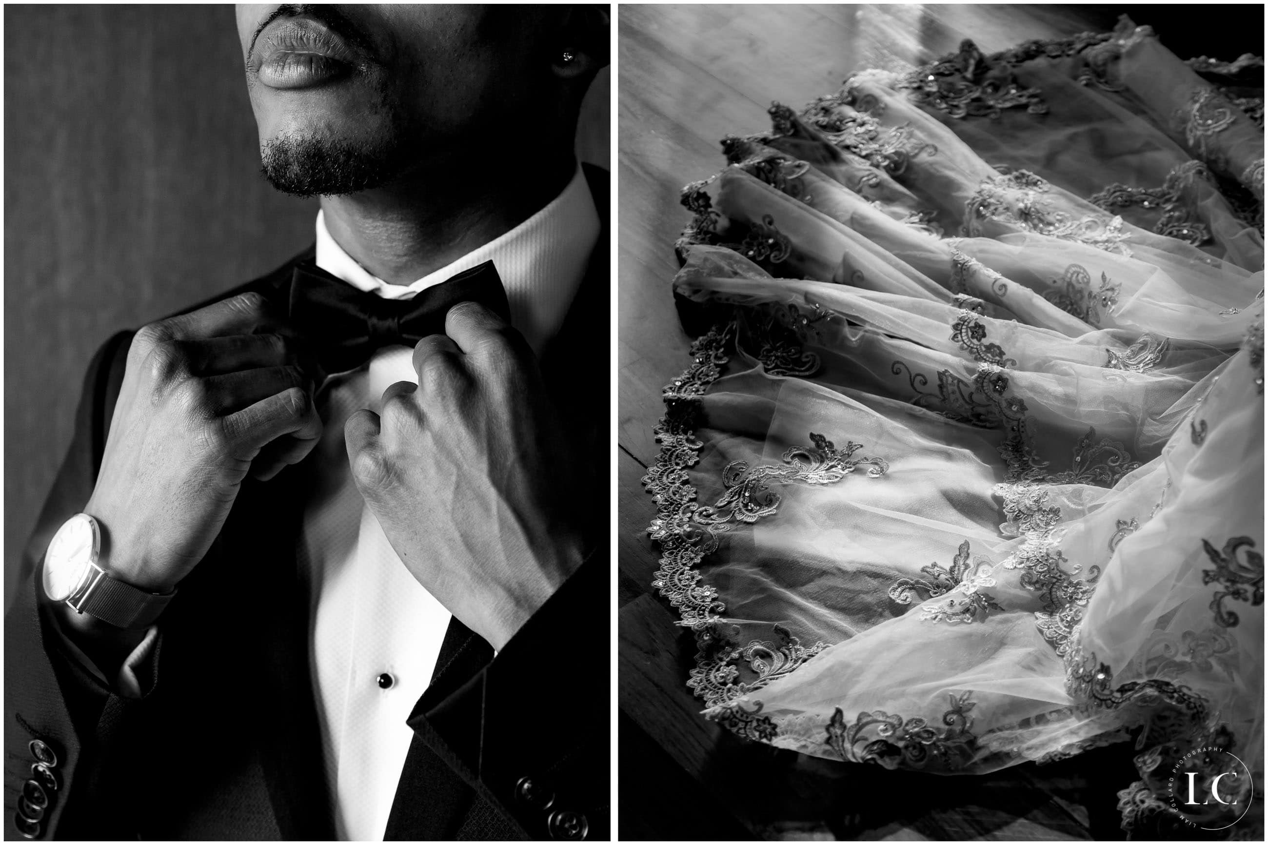 Collage of groom black and white