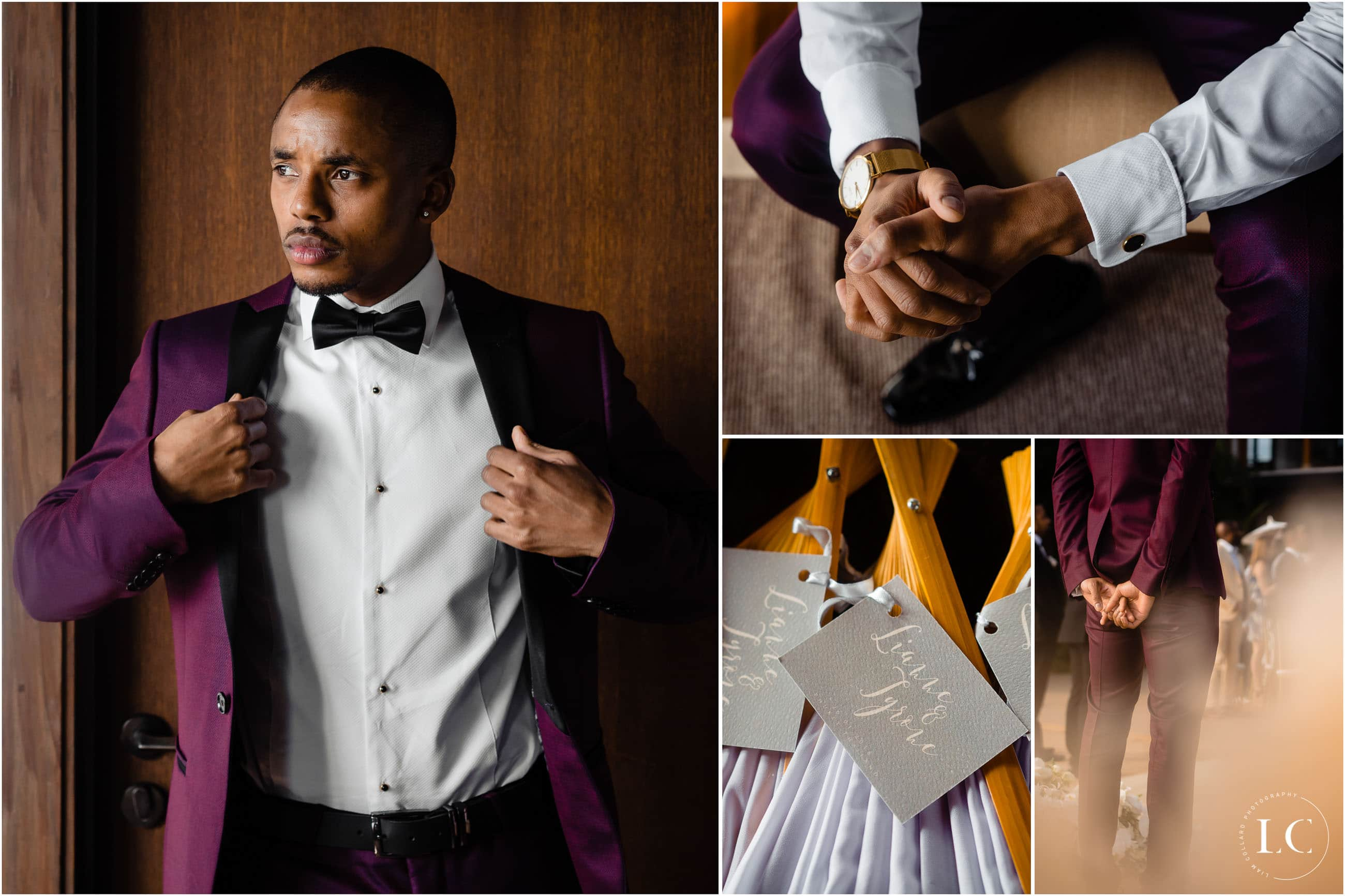 Groom and groomsmen collage of getting ready