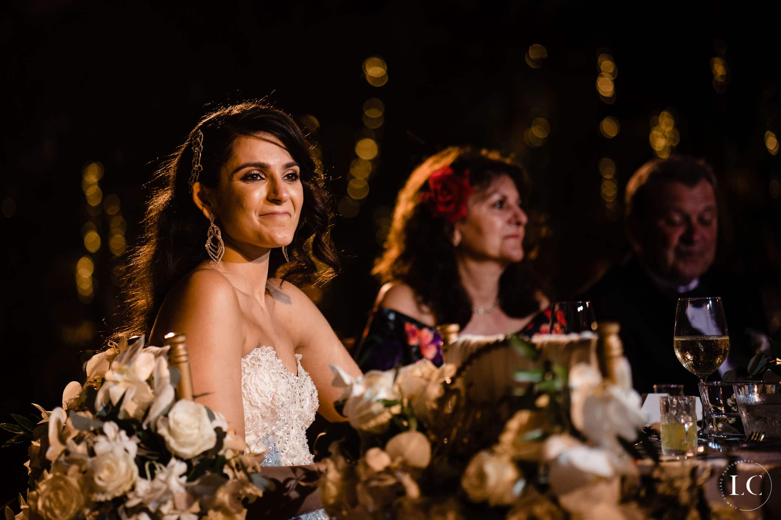 Pictures of bride seated and smiling