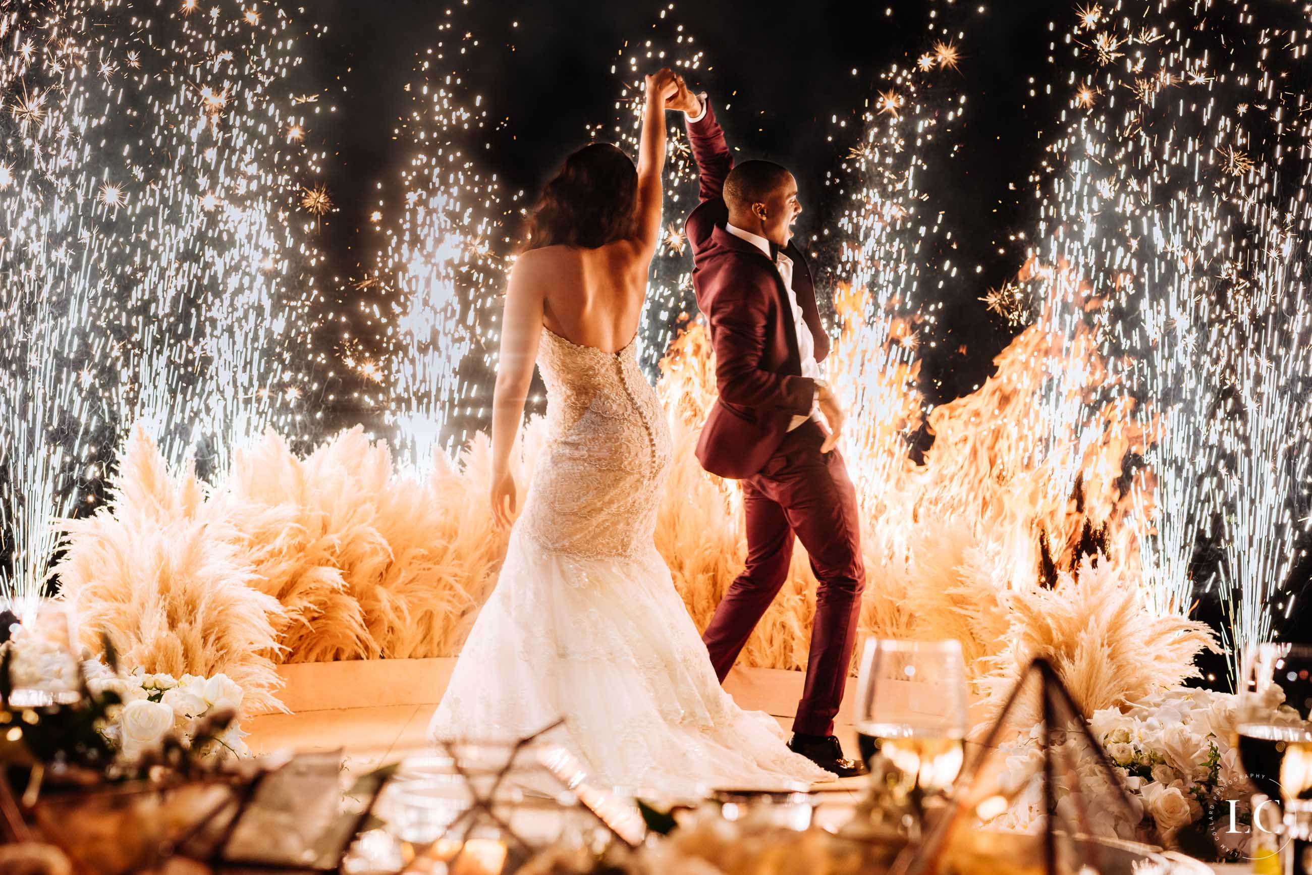 Couple dancing with fireworks