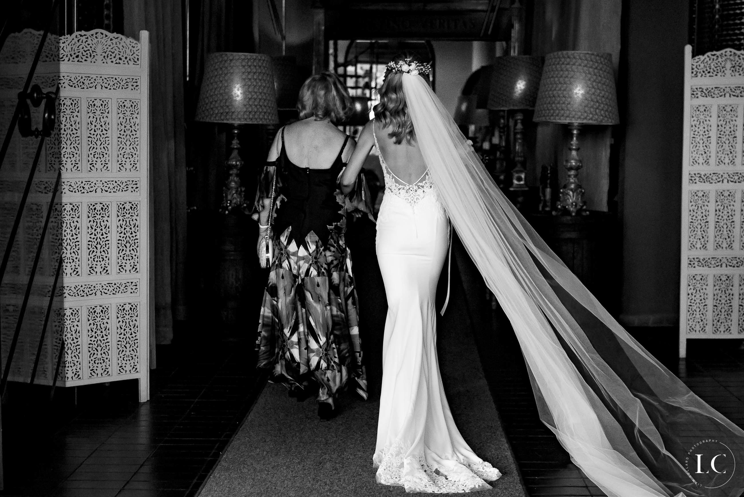 Bride walking from the back