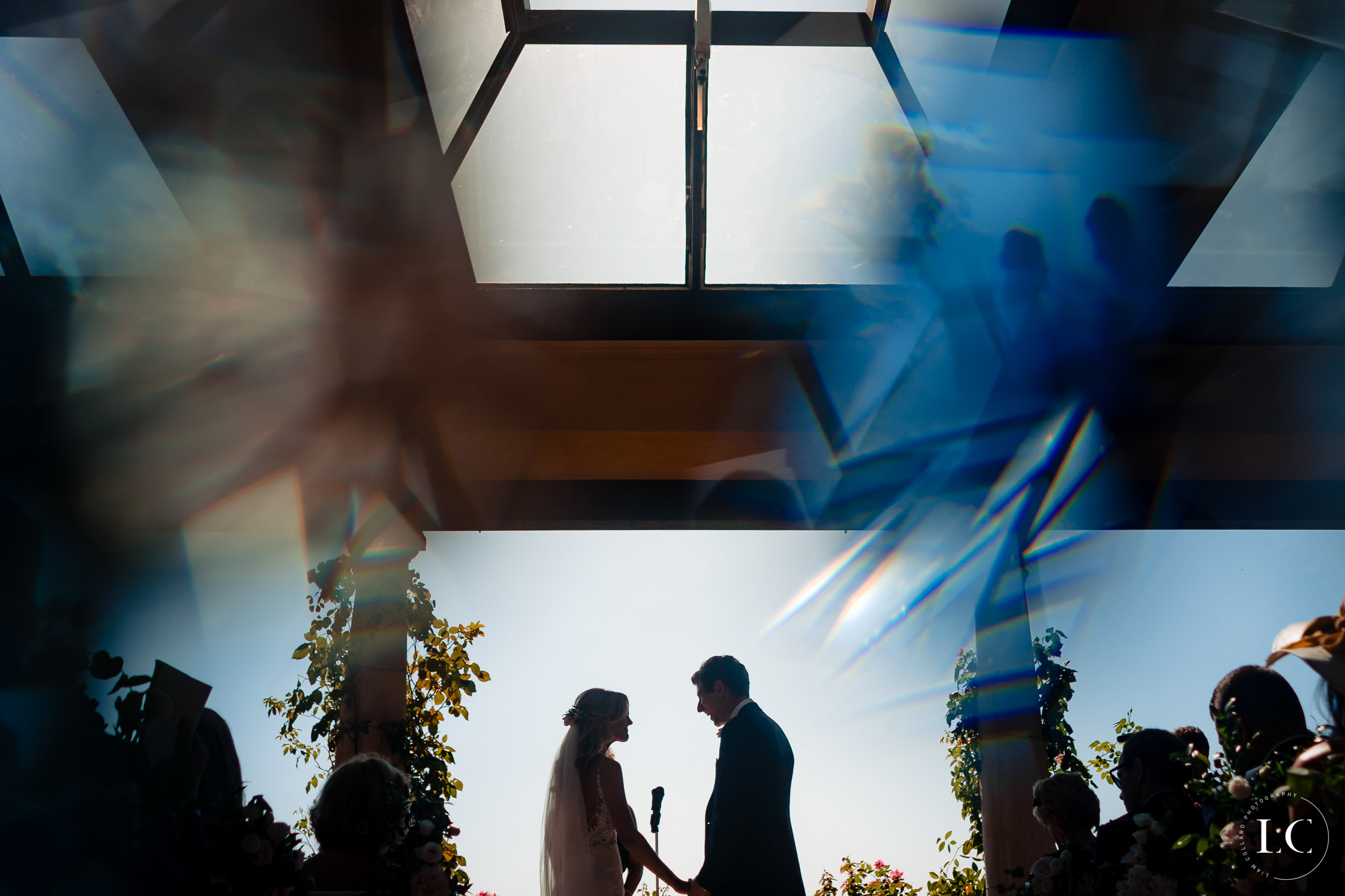Shadow of bride and groom