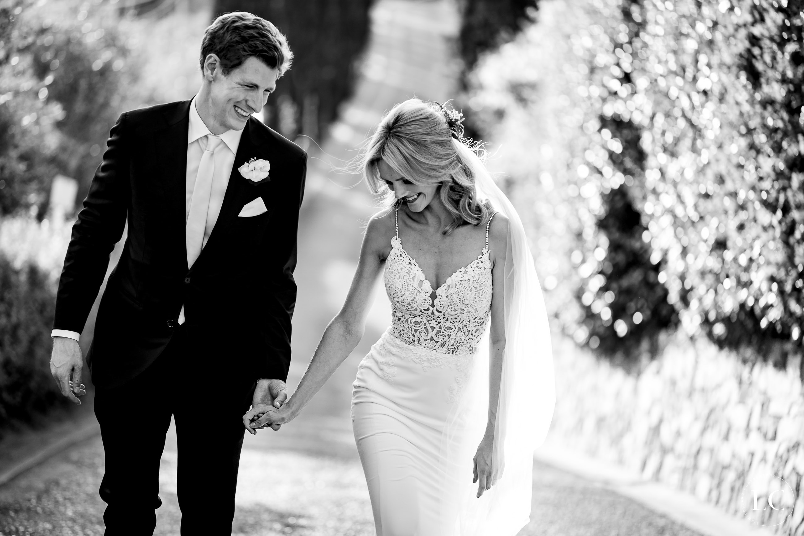 Black and white of newly weds