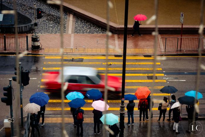 Hong Kong view with umbrellas