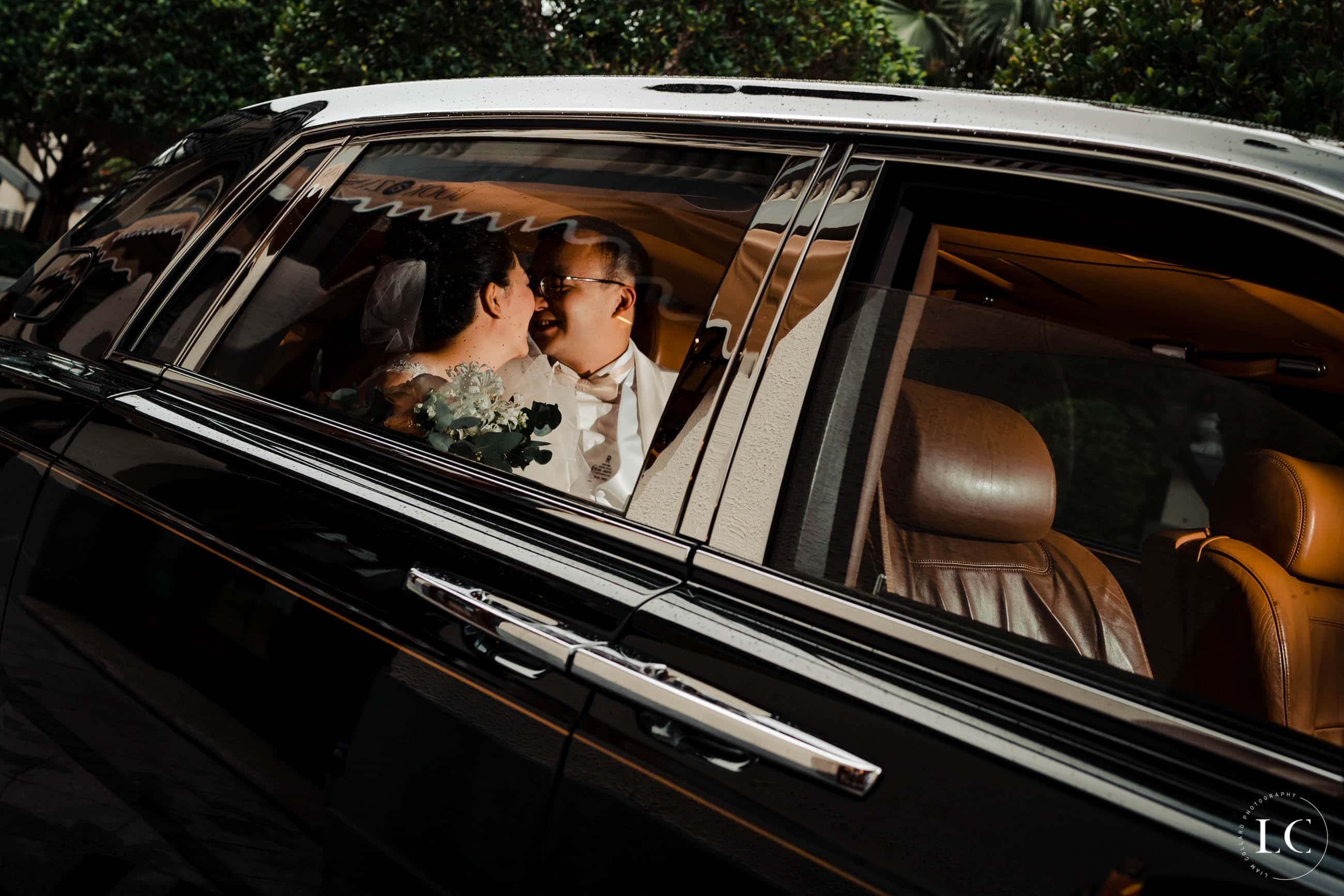 Kissing at Hong Kong wedding