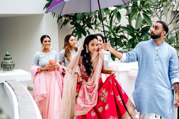 Indian bride walking