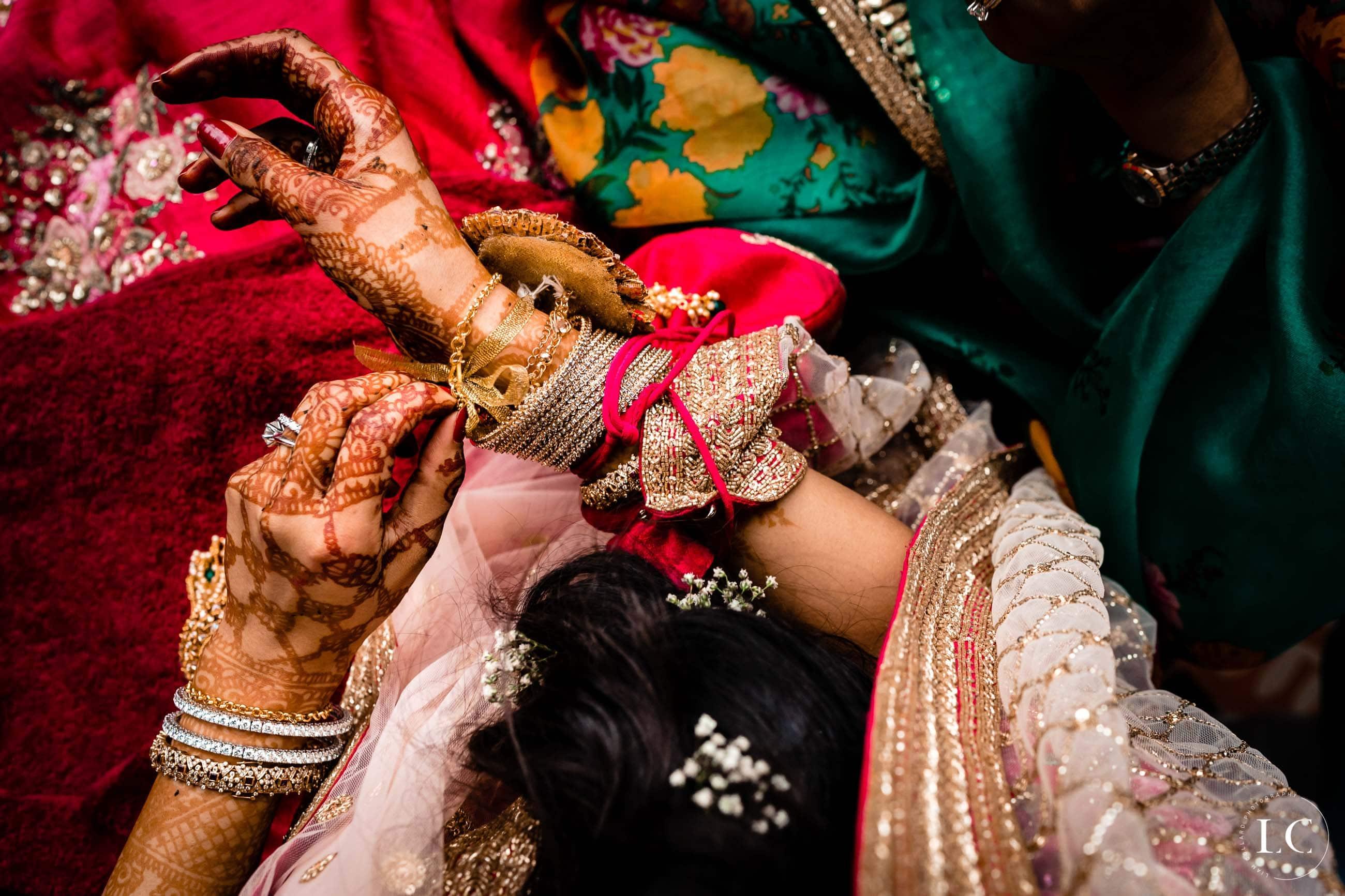 Showing hands of bride