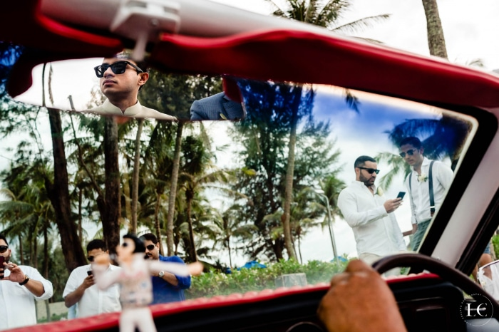 Driving in car at wedding