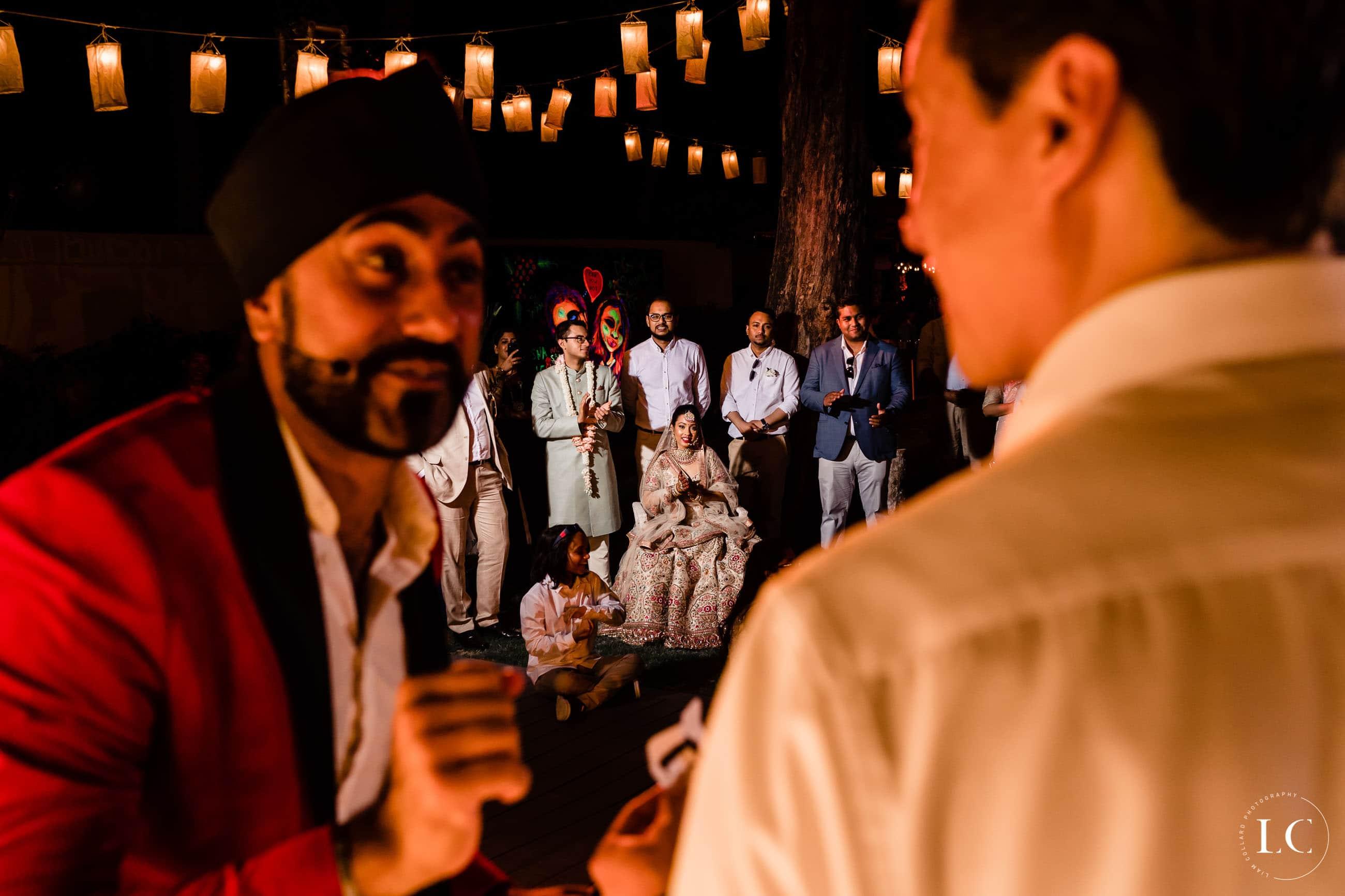Guests talking at a wedding