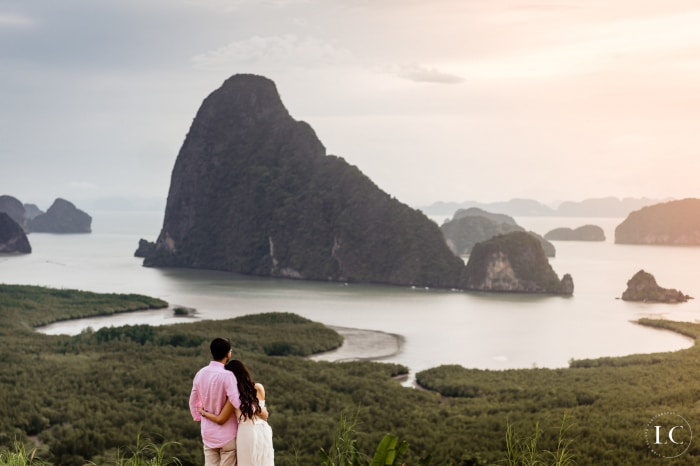 Pre wedding bride and groom overlooking Phuket