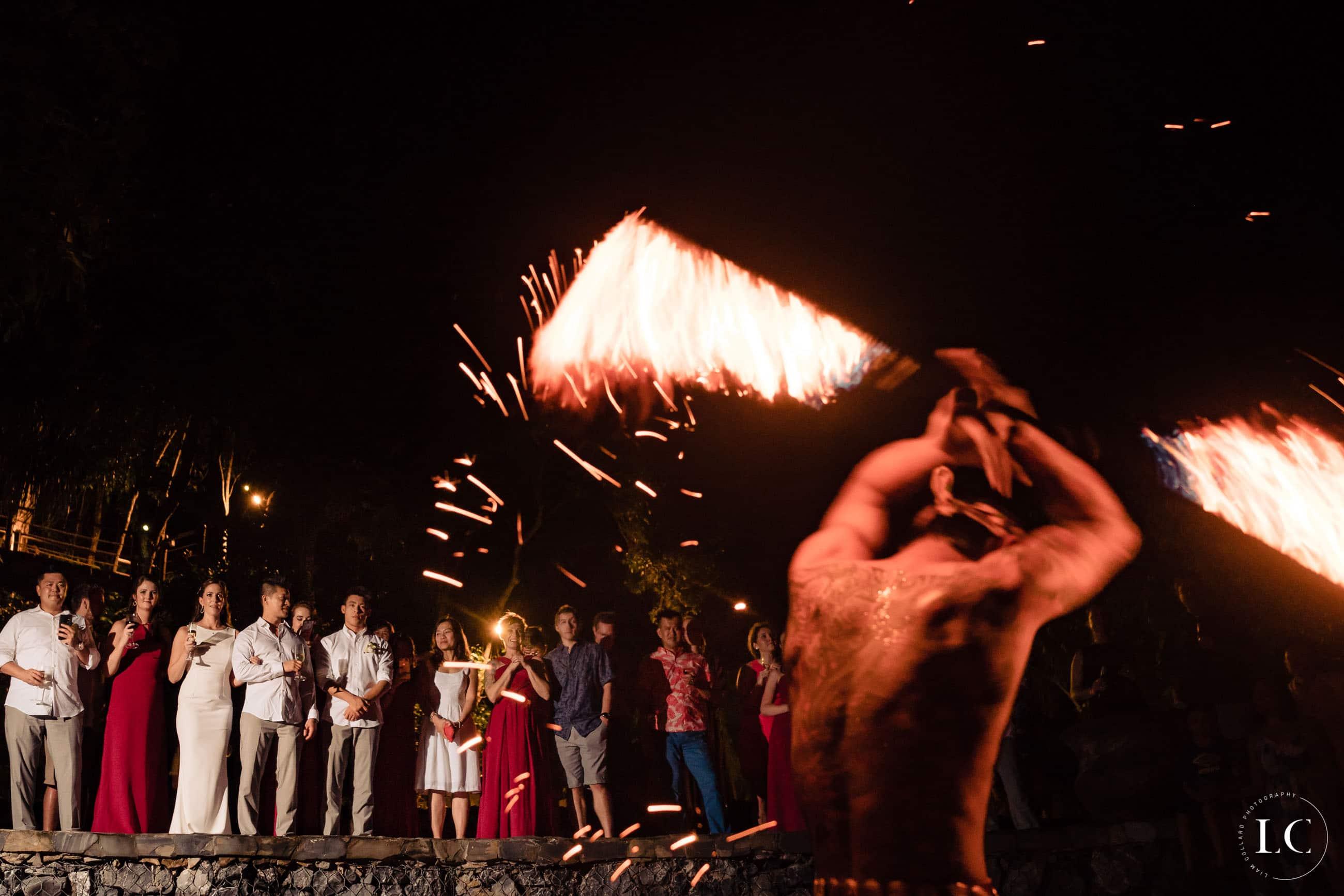 fire dancer at wedding