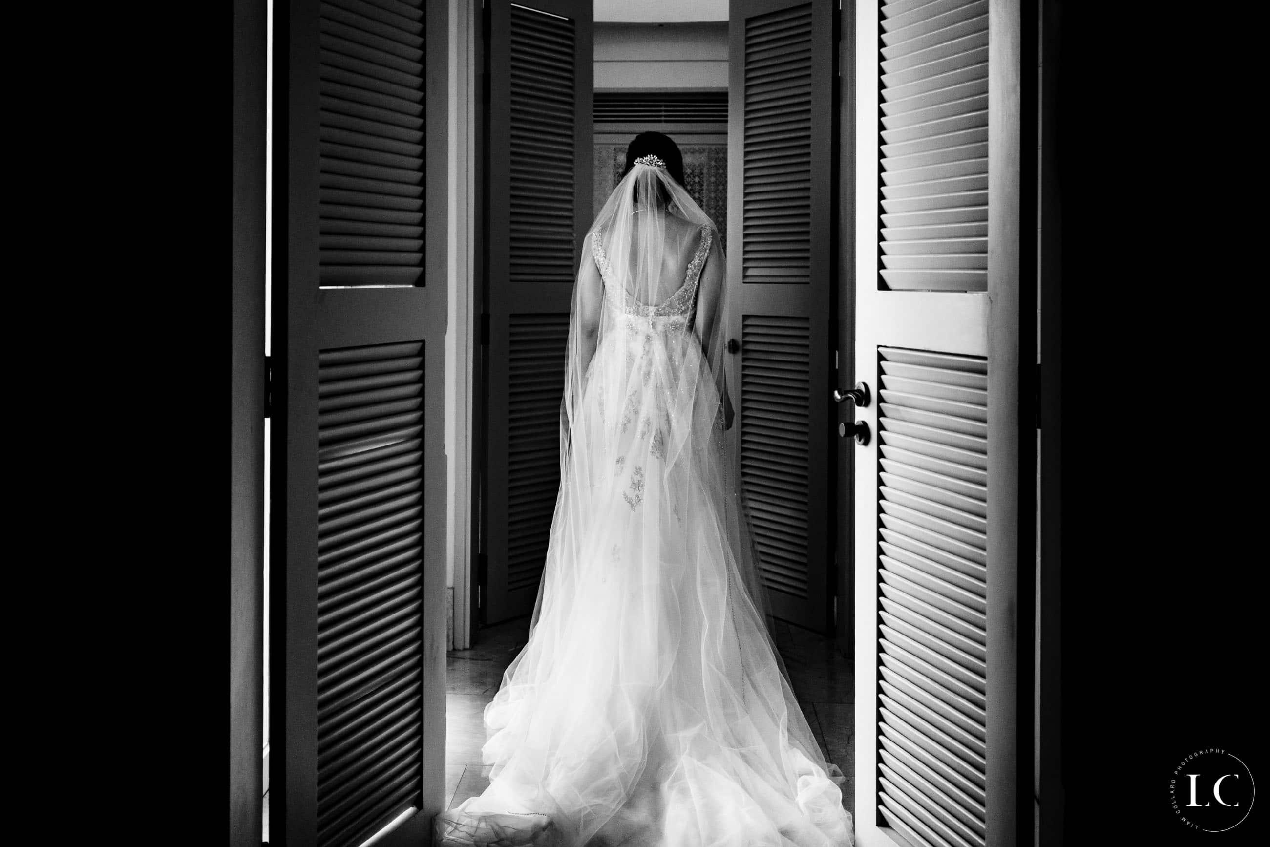 Bride in wedding dress from the back