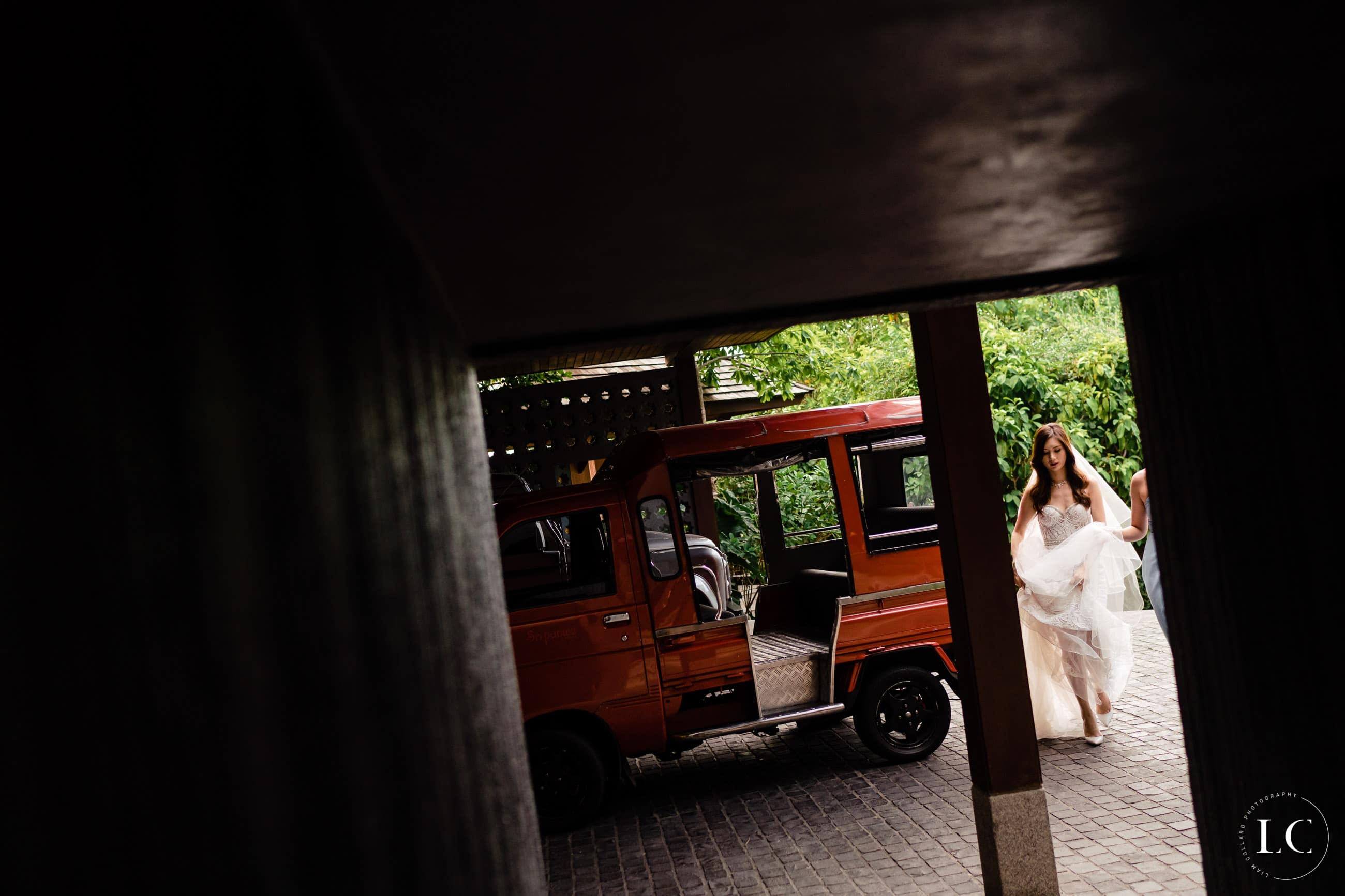 bride walking out the car