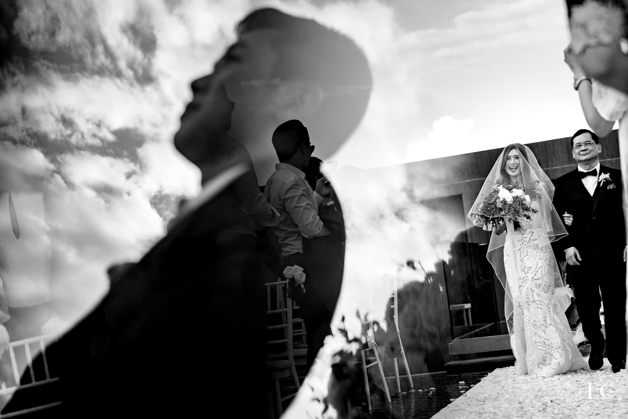silhouette of wedding guest