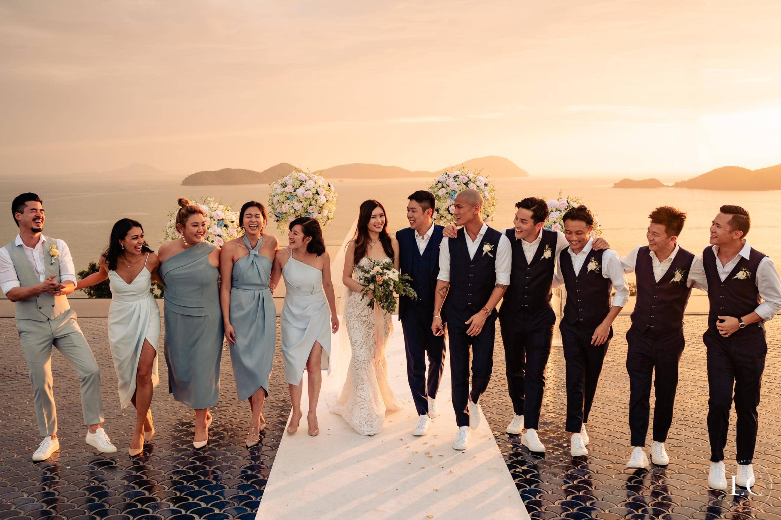 Bridesmaids and groomsmen walking