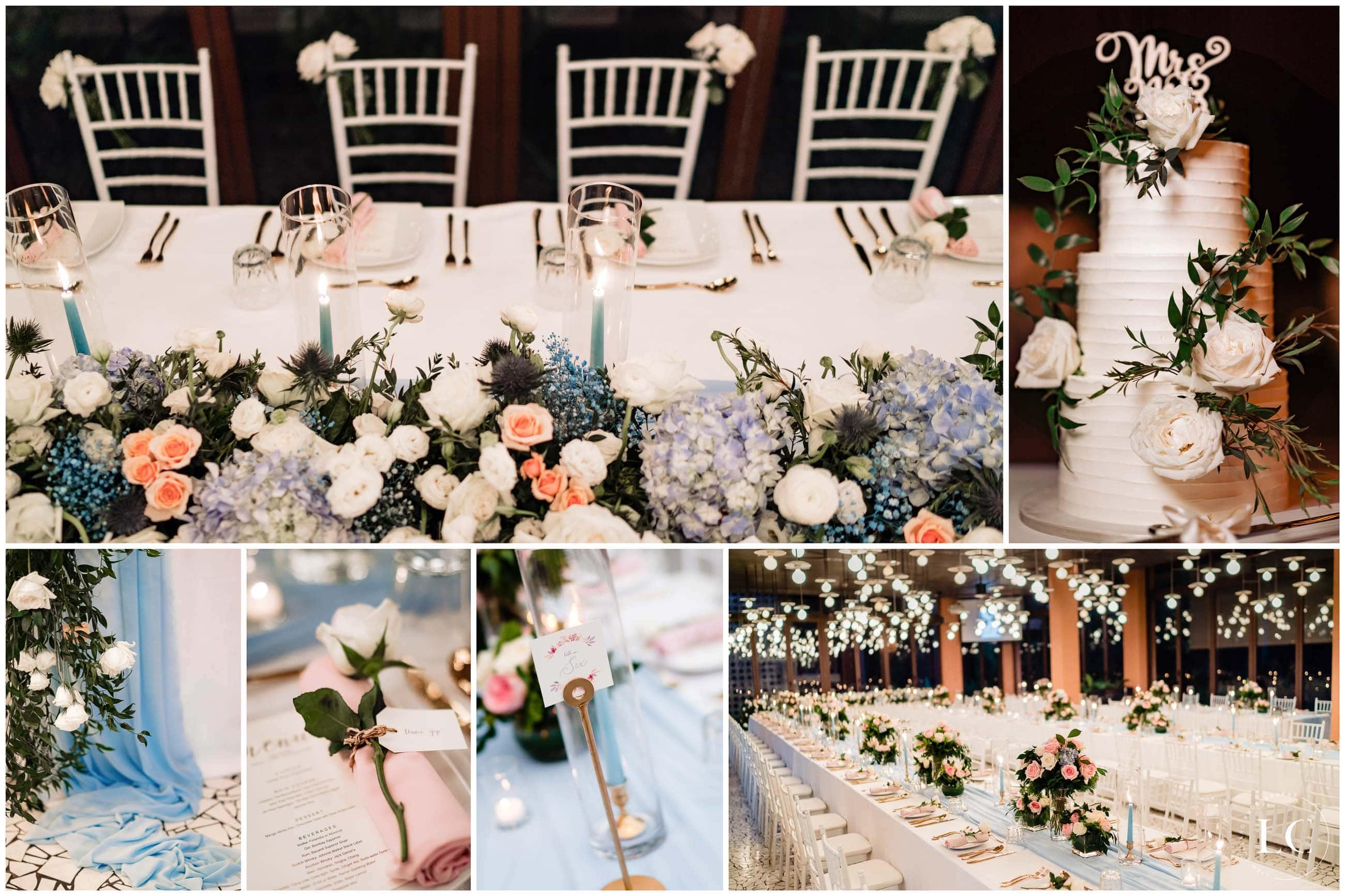 Collage of wedding decor