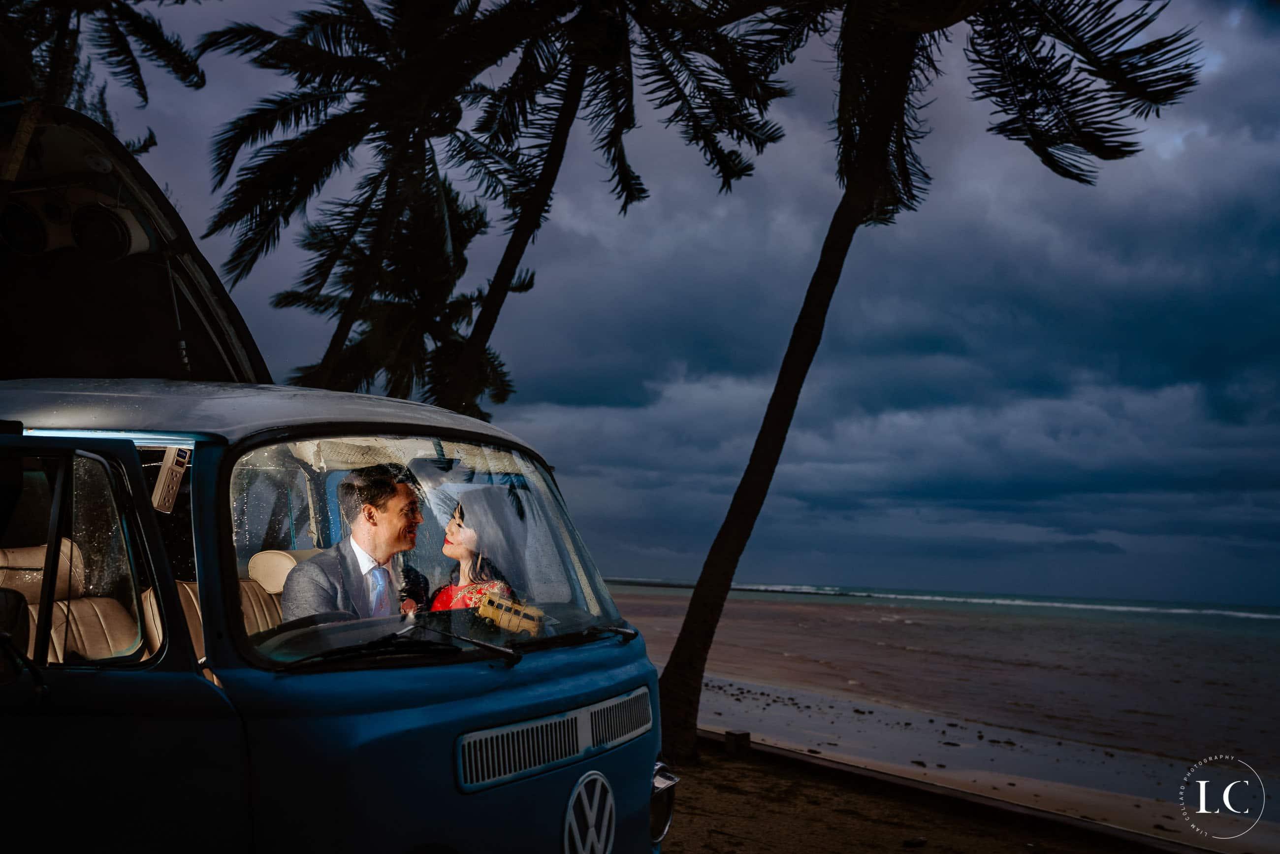 Bride and groom in van
