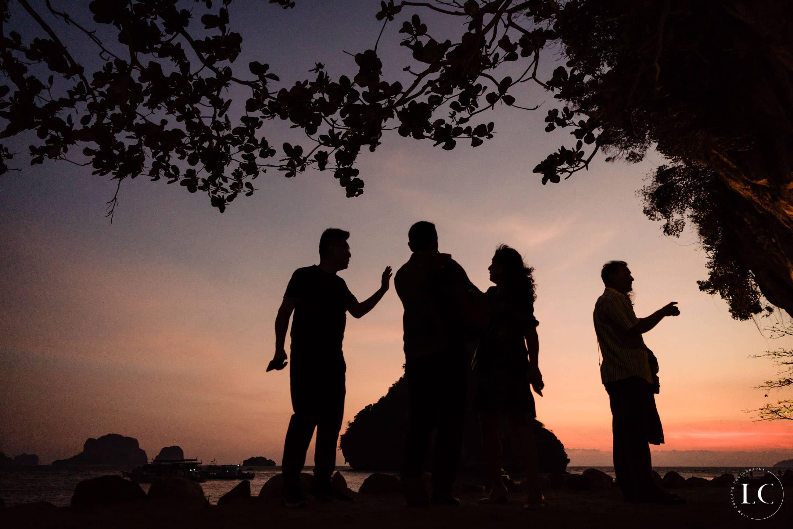 Dancing at sunset at a wedding