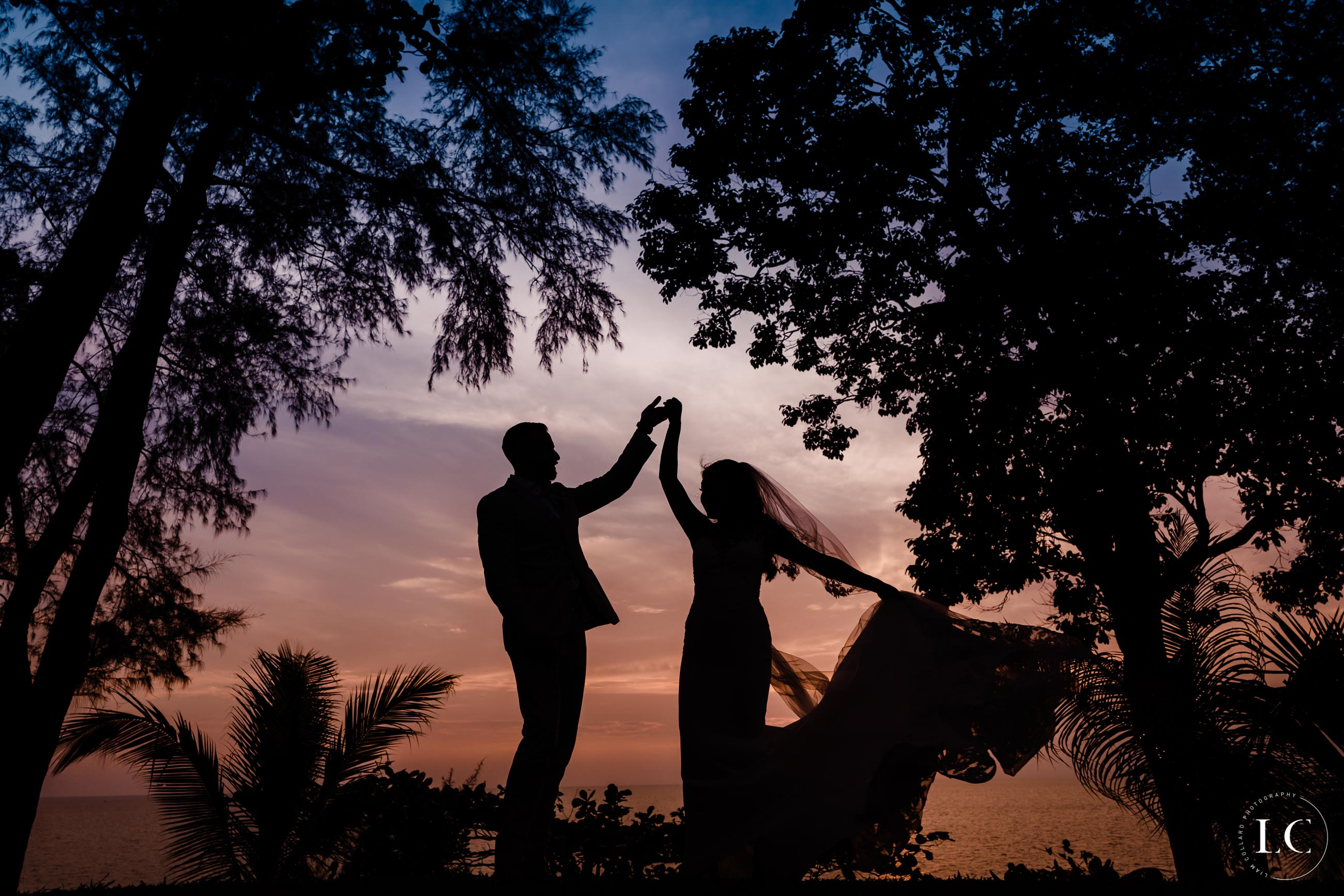 Newly weds at sunset
