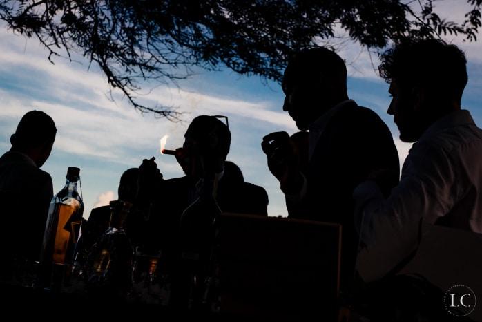 Shadows of wedding guests