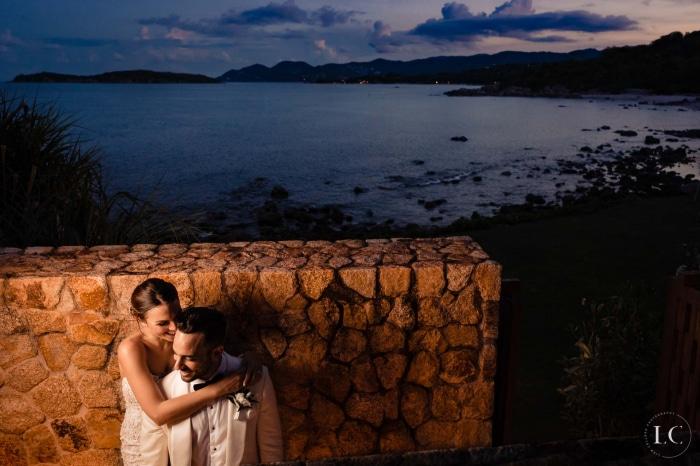 Bride and groom dusk