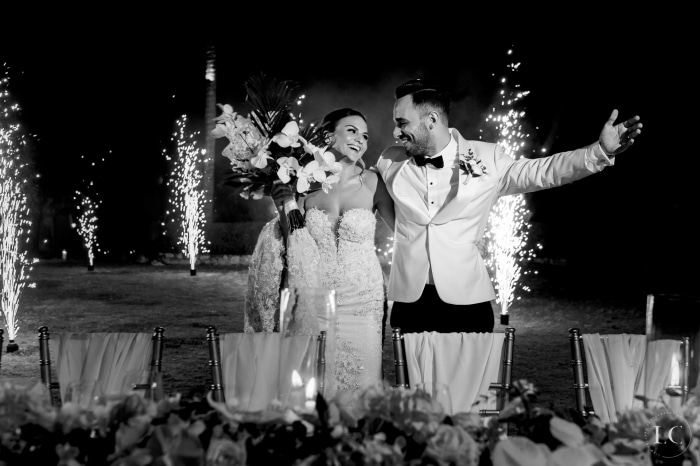 Bride and groom during fireworks
