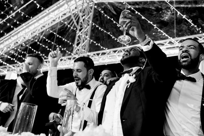 Groom celebrating