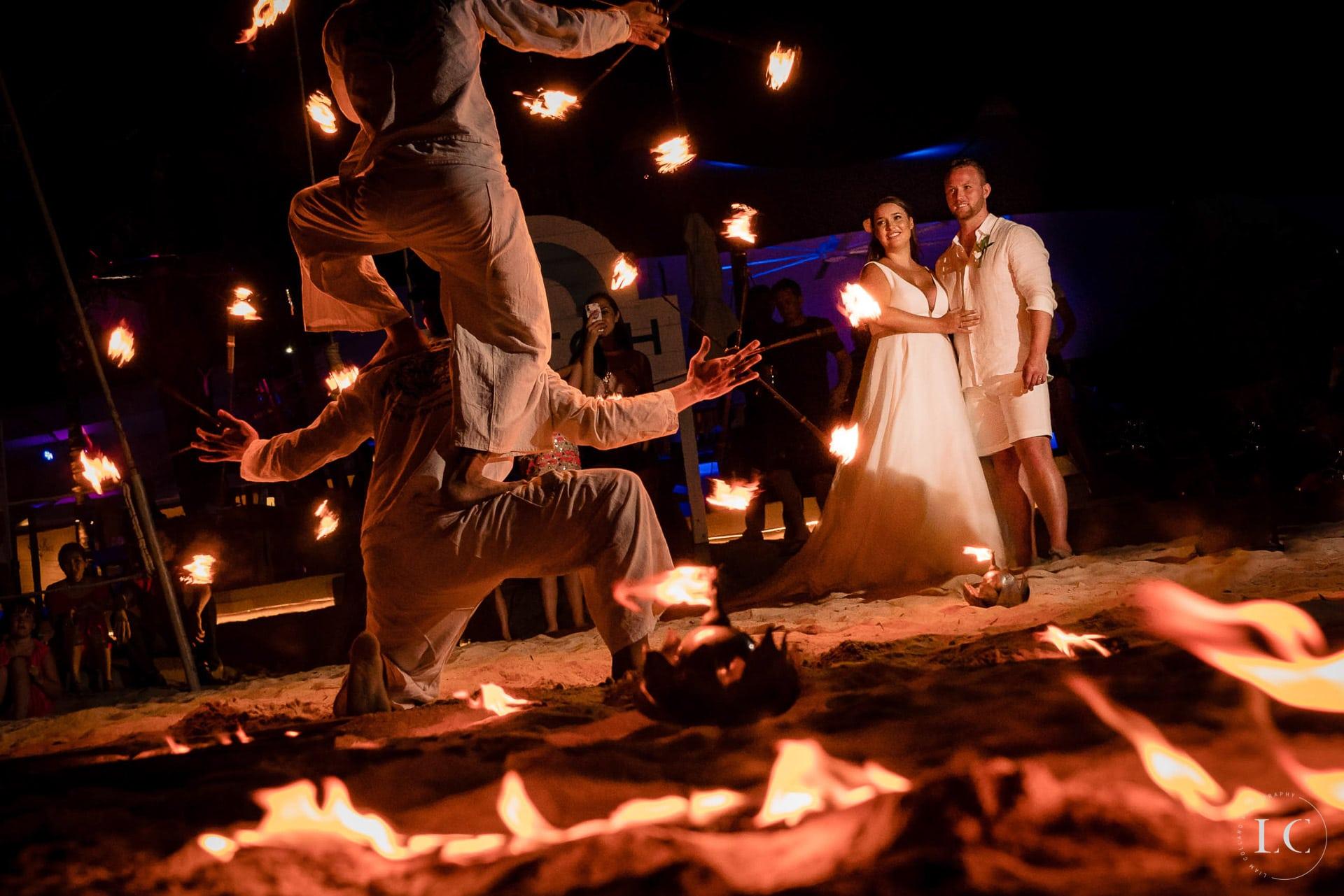 Fire dancing entertainment wedding
