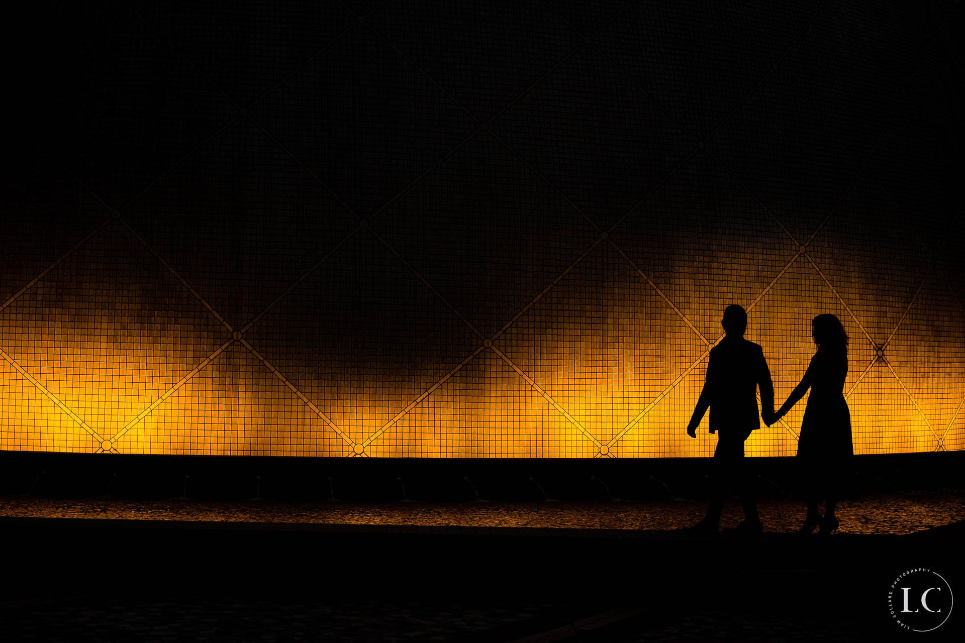 Bride and Groom shadows at night