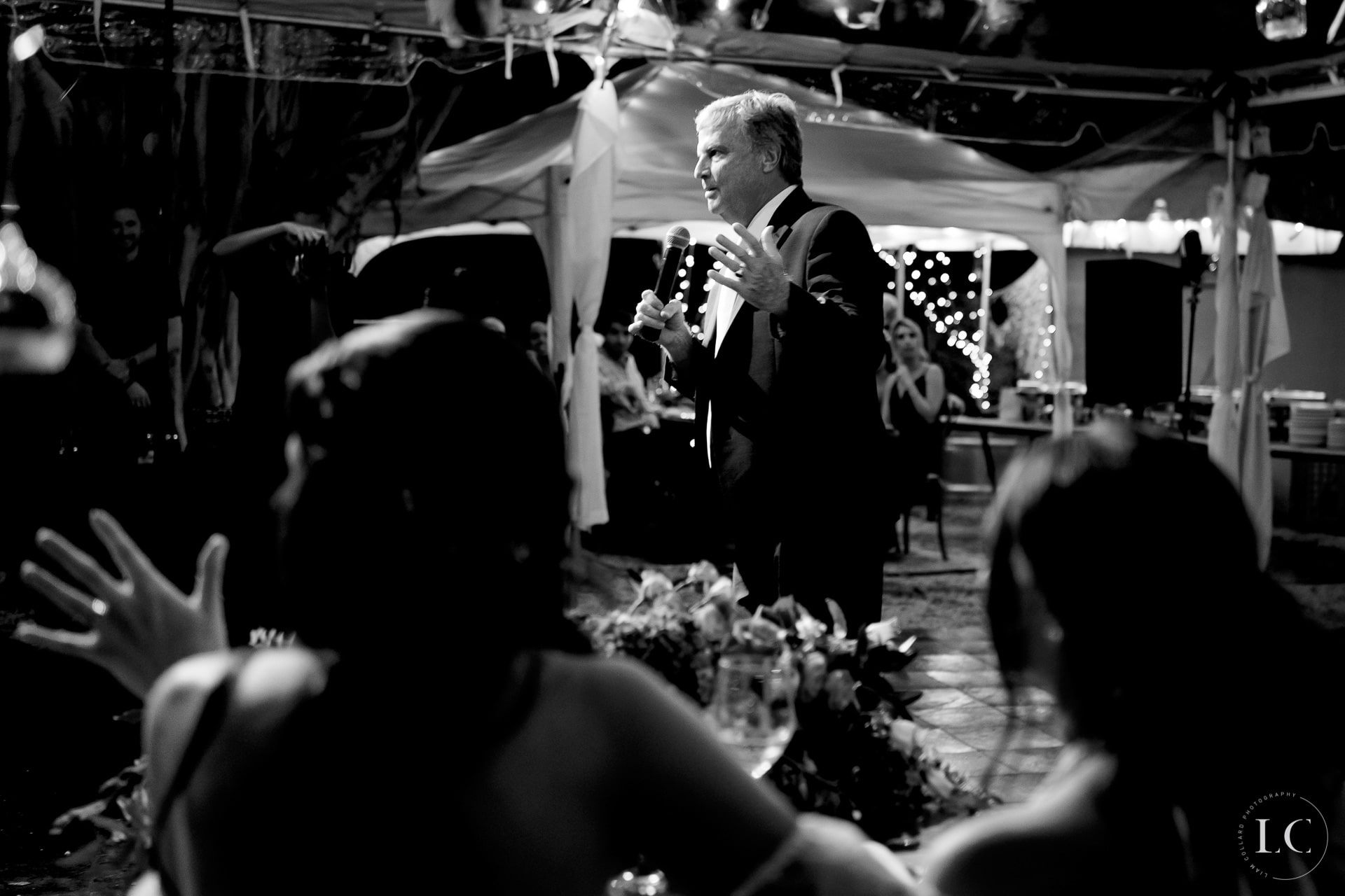 Father giving a speech at a wedding
