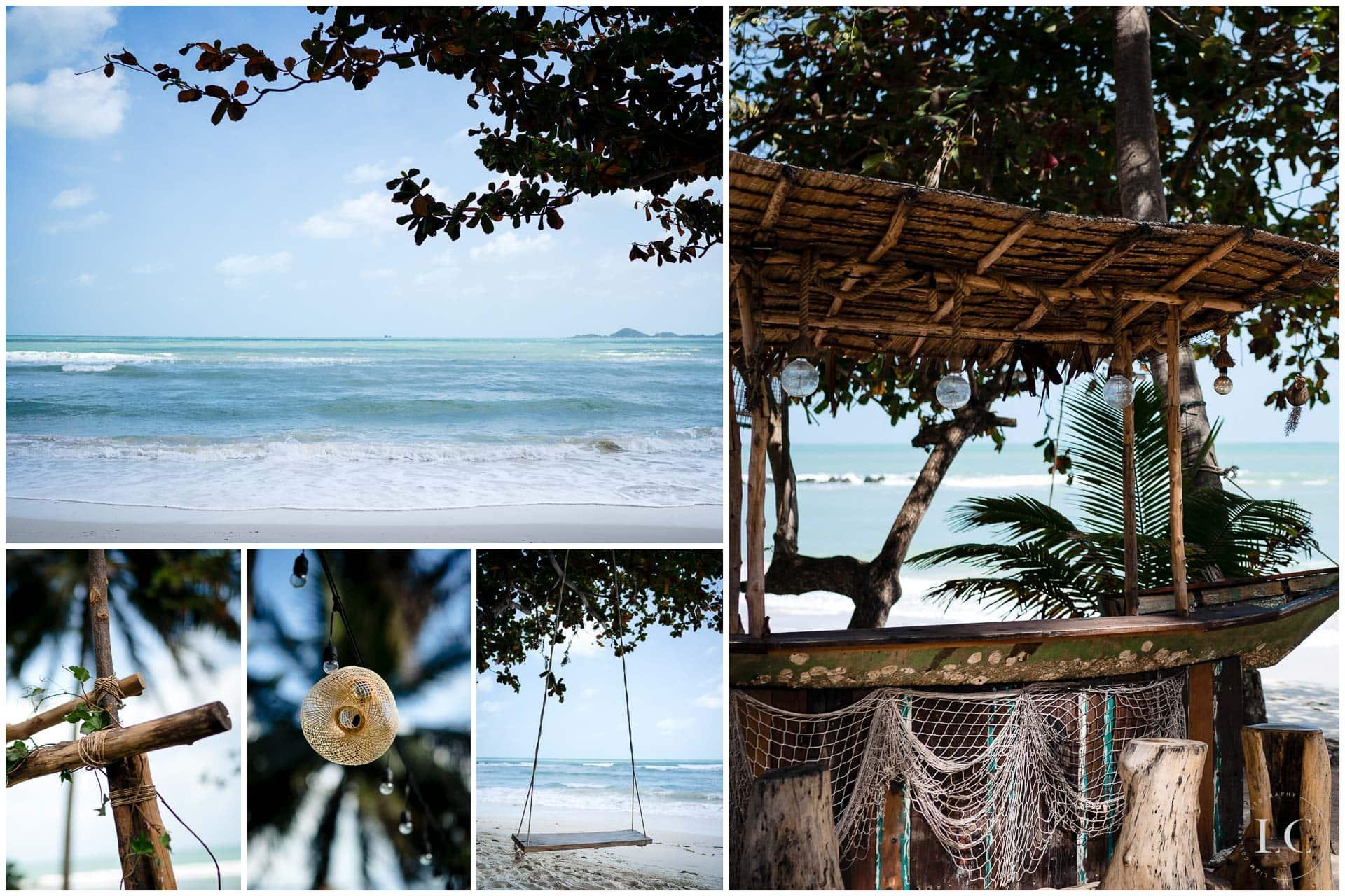 Collage of beach wedding