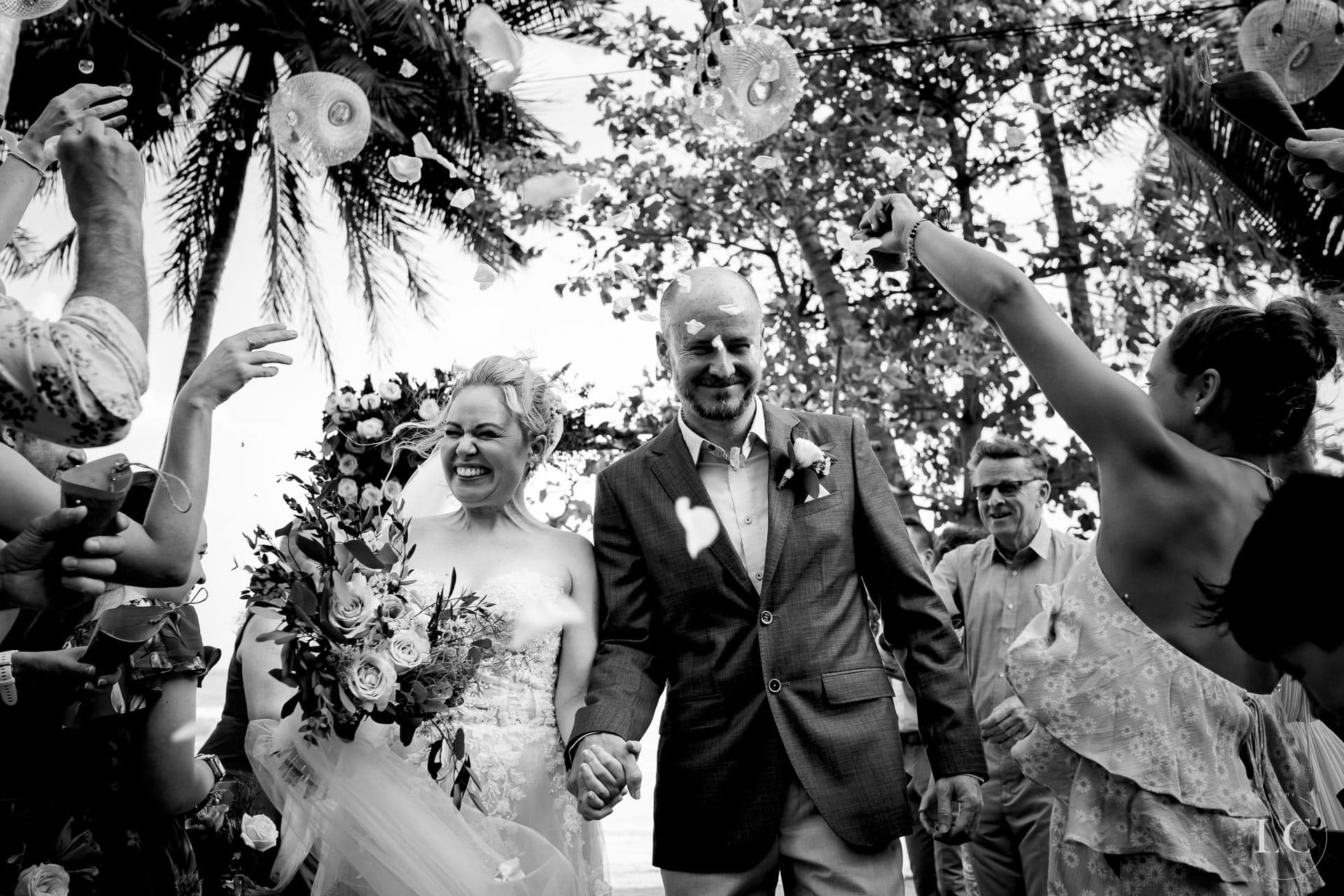 Bride and groom just married